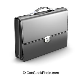 Briefcase - Black men briefcase - 3D illustration