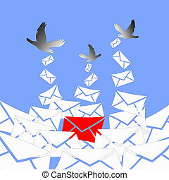 red letter - The pigeons are bringing a lot of white letters...