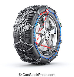 Tire with snow chain - 3D illustration