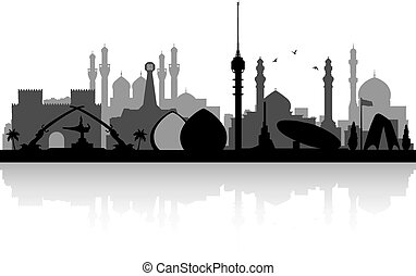 Baghdad Iraq city skyline silhouette - Baghdad Iraq city...