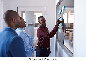 Smiling African coworkers strategizing with sticky notes in...