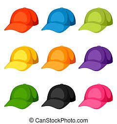 Colored baseball caps templates. Set of promotional and advertising clothes
