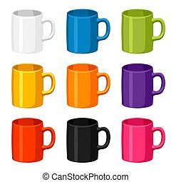 Colored mugs templates. Set of promotional gifts and...