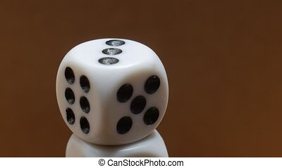 White Playing Dice, close-up, rotating.