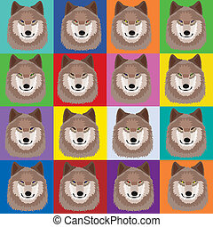 Illustration with wolves in pop art Andy Warhol style; Pack...