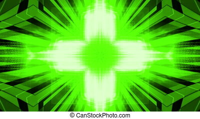 Green abstract geometric abyss looping animated background -...