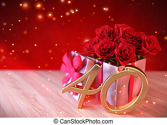 birthday concept with red roses in the gift on wooden desk. fortieth. 40th. 3D render