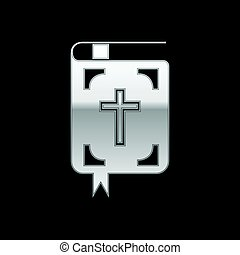 Silver Bible icon on black background. Vector Illustration