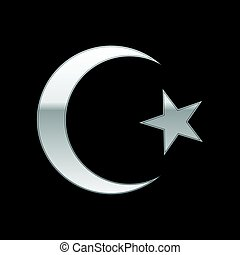 Silver Islam symbol icon on black background. Vector...