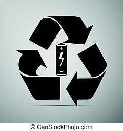 Battery with recycle symbol - renewable energy concept flat...