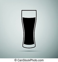 Glass of beer flat icon on grey background. Adobe...