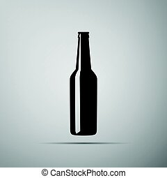 Beer bottle flat icon on grey background. Adobe illustrator