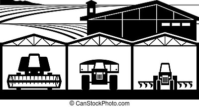 Farm yard with agricultural machinery - vector illustration