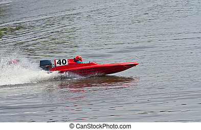 Speedboat - Red speedboat in races on lake