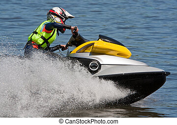 High-speed jetski - Woman Riding Jet Ski Wet Bike Personal...