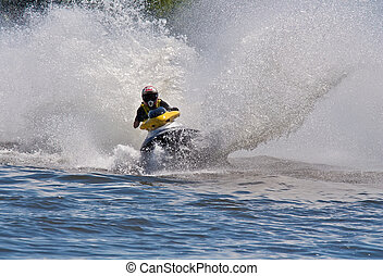 High-speed jetski - Man Riding Jet Ski Personal Watercraft