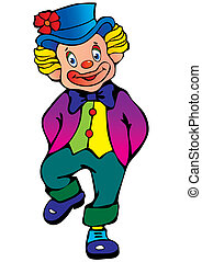 Clown - Funny clown Vector art-illustration on a white...