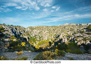 Nature Of Calanques On Azure Coast Of France. High Cliffs...