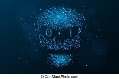 Hacking system. An abstract, luminous skull of blue color from a binary code. The data is under threat. Programming in design. Vector illustration