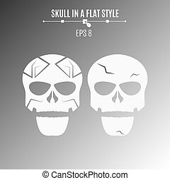 Abstract skulls of white color on a black background. Strict pattern and cracks. Vector illustration