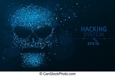 Hacking system. An abstract, luminous skull of blue color from a binary code. The data is under threat. Dust from the programming symbols. Vector illustration