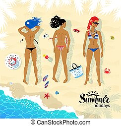 Three sunbathing young women - Top view vector illustration...