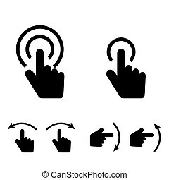 hand touch set icon in black color illustration - hand touch...