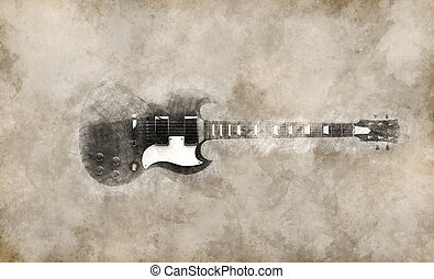 Vintage illustration of cool hard rock guitar