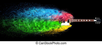 Hard rock guitar disintegrating into colorful particles