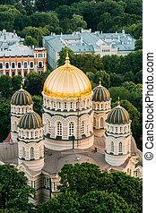 Riga, Latvia. Riga Cityscape. Top View Of Riga Nativity Of...