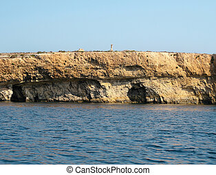 View of Coastline with generic rock, Gozo, Malta