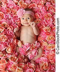 bebê, cama, rosas