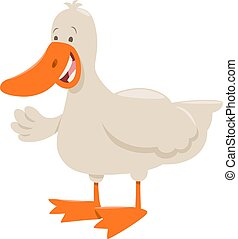 duck farm animal cartoon - Cartoon Illustration of Cute Duck...