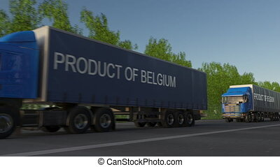 Moving freight semi trucks with PRODUCT OF BELGIUM caption on the trailer. Road cargo transportation. Seamless loop 4K clip