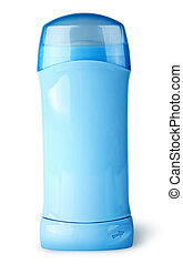 Blue deodorant container with cap isolated on white...