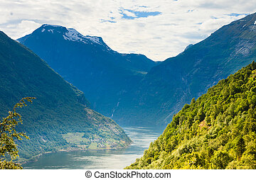 View on Geirangerfjord in Norway - Tourism vacation and...
