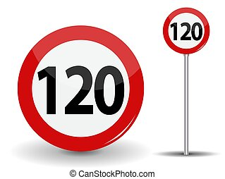 Round Red Road Sign Speed limit 120 kilometers per hour. Vector Illustration.