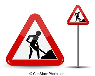 Road sign Warning: Road works. In the Red Triangle a man...