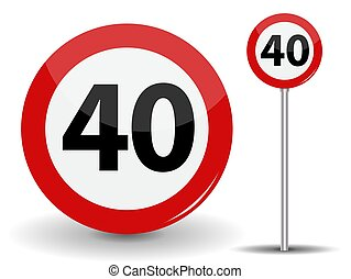 Round Red Road Sign Speed limit 40 kilometers per hour. Vector Illustration.
