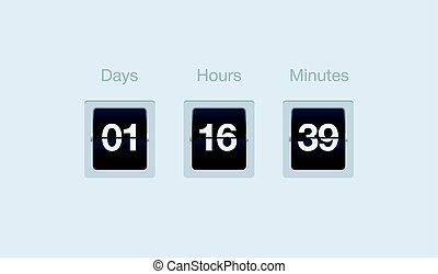 Vector flip countdown timer. Clock counter for websites and interfaces. Days, hours and minutes.