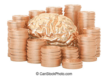 Gold coins with human brain, 3D rendering isolated on white...