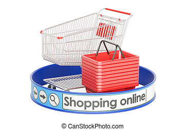 shopping online, e-shopping concept, 3D rendering isolated...