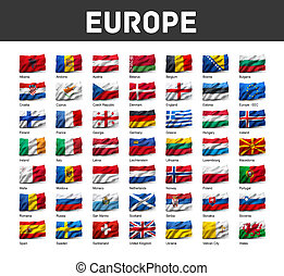 Set of European flags - Flags of Europe waving in the wind,...