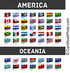 Set of American and Oceanian flags - Flags of America and...