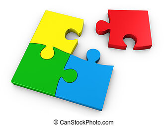 Jigsaw Puzzle Pieces - Puzzle pieces in four different...