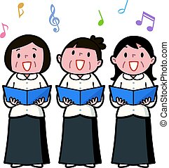 Three senior women singing together - Vector illustration....