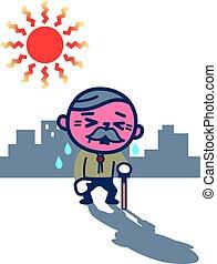 Elderly men suffering from heatstroke - Vector illustration....