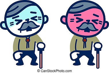 Old male with poor condition - Vector illustration. Original...
