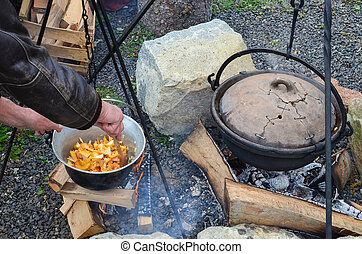 Preparing mushrooms and venison goulash on an open fire in a...