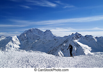 Skier before the start on the off-piste descent. Caucasus...